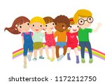 group of childrein sitting... | Shutterstock .eps vector #1172212750
