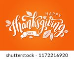 happy thanksgiving day with... | Shutterstock .eps vector #1172216920