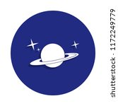 saturn planet icon in badge...