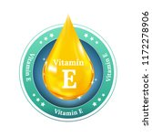 vitamin e drop label. realistic ... | Shutterstock .eps vector #1172278906