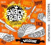 snack bar cafe restaurant menu. ... | Shutterstock .eps vector #1172280496