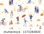 people in the autumn park... | Shutterstock .eps vector #1172283820