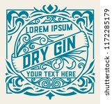 vintage label and gin liquor... | Shutterstock .eps vector #1172285179