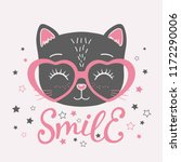 Stock vector cute black cat face with pink heart glasses smile slogan vector illustration for children print 1172290006