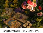 still life with old tarot cards ... | Shutterstock . vector #1172298193