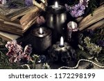 still life with evil black... | Shutterstock . vector #1172298199