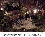 old books  antique lamp  black... | Shutterstock . vector #1172298259