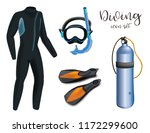 realistic snorkeling and scuba... | Shutterstock .eps vector #1172299600