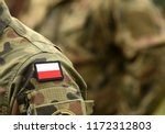 polish patch flag on soldiers... | Shutterstock . vector #1172312803