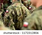 polish patch flag on soldiers... | Shutterstock . vector #1172312806