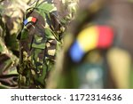 romanian patch flag on soldiers ... | Shutterstock . vector #1172314636