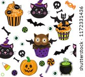 cute black cat  cupcake for... | Shutterstock .eps vector #1172331436