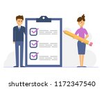 business woman with a giant... | Shutterstock .eps vector #1172347540