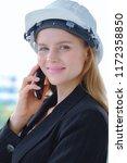 beautiful woman civil engineer... | Shutterstock . vector #1172358850