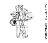 Tulips In A Glass Vase. Hand...
