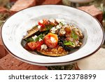 vegetarian eggplant salad with... | Shutterstock . vector #1172378899