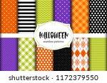 cute set of halloween seamless... | Shutterstock .eps vector #1172379550