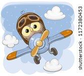 cute cartoon owl is flying on a ... | Shutterstock .eps vector #1172380453