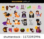 Stock vector happy halloween stickers set of cats and dogs in monsters costumes halloween party vector 1172392996