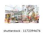 building view with landmark of... | Shutterstock .eps vector #1172394676