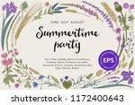 summertime party. floral ... | Shutterstock .eps vector #1172400643