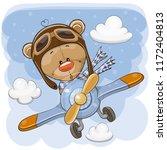cute cartoon teddy bear is... | Shutterstock .eps vector #1172404813