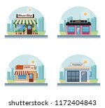 set of stores buildings | Shutterstock .eps vector #1172404843