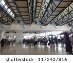 Small photo of Algiers, Algeria - September 2018. Algerian emigrants at the International airport returning after vacation to other countries. General view