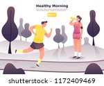 jogging man at  park and woman... | Shutterstock .eps vector #1172409469