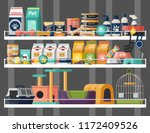 pet shop shelves with dog and... | Shutterstock .eps vector #1172409526