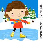 girl on skates | Shutterstock .eps vector #117241438