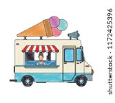 ice cream truck and man scribble | Shutterstock .eps vector #1172425396