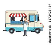 foodtruck restaurant isolated... | Shutterstock .eps vector #1172425489