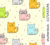 seamless background with cute... | Shutterstock .eps vector #1172433196