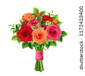 vector bouquet of red and... | Shutterstock .eps vector #1172433400