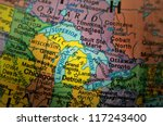 Closeup Of Great Lakes On A Map