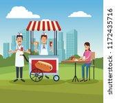 hot dog cart in park | Shutterstock .eps vector #1172435716