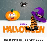 cute spider on cobweb  orange... | Shutterstock .eps vector #1172441866