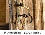 Antique Door Key In Wooden...