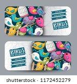 cute birds horizontal banner... | Shutterstock .eps vector #1172452279