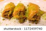 traditional turkish dessert... | Shutterstock . vector #1172459740