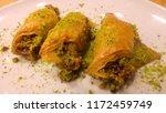 traditional turkish dessert... | Shutterstock . vector #1172459749