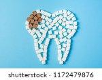 sugar destroys the tooth enamel ...   Shutterstock . vector #1172479876