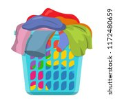 Stock vector basket with linens laundry basket with dirty clothes vector illustration in flat style 1172480659