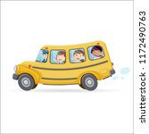 funny school bus. kids riding... | Shutterstock .eps vector #1172490763