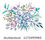 watercolor flower illustration  ... | Shutterstock . vector #1172495983