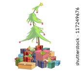 christmas tree around presents. ...   Shutterstock .eps vector #117249676