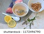 herbal tea with mint and lemon. ...   Shutterstock . vector #1172496790
