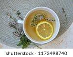 herbal tea with mint and lemon. ...   Shutterstock . vector #1172498740