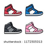 sports shoe icon set. high top... | Shutterstock .eps vector #1172505313